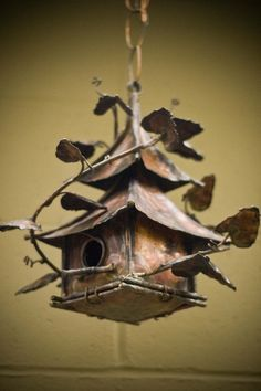 Copper Hanging China Bird House