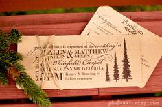 woodland wedding printable invitation on rustic kraft paper #woodlandwedding #weddinginvitations #rustic #invitations