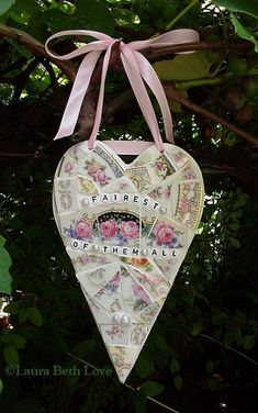Broken china mosaic heart ...made by Laura Beth Love, Dishfunctional Designs