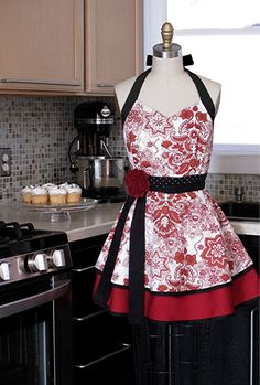 Apron--cute, but you would almost feel like you'd have to wear heels with this one