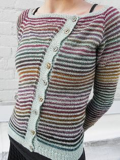 Ravelry: BoldandBrashKnits' Laneway Cardigan // knit in Dyed In The Wool ((colorway: Kimono)) from Spincycle Yarns