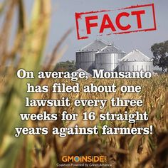 Since 1997 Monsanto hasn't lost a single case against a farmer. Keep in mind these farmers all didn't want GMO seeds, didn't want GMO plants and in turn couldn't sell those GMO crops. Farmer Steve Marsh's fight is the next case against Monsanto. Learn more here: http://www.dailyfinance.com/2014/02/13/monsantos-gmo-seeds-may-no-longer-be-invincible #iamstevemarsh #contamination #GMOs #StopMonsanto