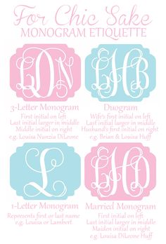Ever wondered the proper way to write out monograms? No more!!! This link shows you the 4 most popular ways to write out monograms!!! This is the same site with free printables of monograms great for bottle cap jewelry, glass tile jewelry & fridge magnets too! #ecrafty