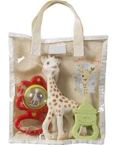 This zoo-themed gift bag is the perfect present for a #babyshower. With a doll, rattle, and teething ring all tucked in a cute tote, everything in this package will get used! Click above to buy one.
