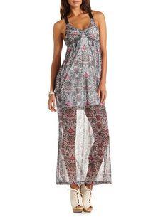 Crisscross Back Mesh Maxi Dress: Charlotte Russe