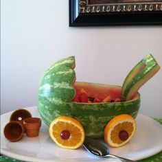 Baby shower fruit carriage...what a great idea!!