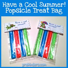 End of Year Treat Bag Topper (from PreKinders)  Think this would be so cute in red, white and blue for 4th of July.