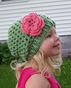 pink flowers, shops, colors, crochet hats, slouch hat, hat patterns, bobby pins, kid outfits, crochet patterns