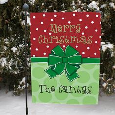 """For a Great Neighbor ♥ Personalized Merry Christmas Garden Flag ~ This Christmas Present Personalized Garden Flag adds a distinctive look to your yard or garden. Wishing all your visitors a very Merry Christmas, this festive garden flag makes a unique gift for yourself, friends and families. This holiday design is printed on one side and measures 12 ½"""" x 18""""."""