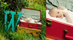 Suitcase photos old trunks, vintage suitcases, newborn photography, photo props, newborn photos, pictur idea, photo idea, vintage luggage, baby photos