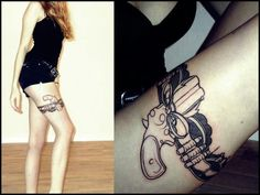 Awesome pistol tattoo