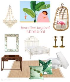 small shop: hawaiian-inspired bedroom, pink, green, white, tropical, bamboo, rattan swing, capiz shell chandelier, banana leaf pillow, vintage map pillow, pineapple candlesticks