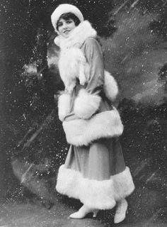 Olive Thomas stays warm and fashionable, c. 1910s
