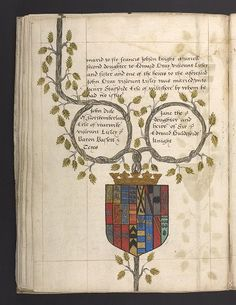 Genealogical table prepared for Robert Dudley, Earl of Leicester, showing the marriage of his parents, the Duke and Duchess of Northumberland. Robert's brothers and sisters are listed on subsequent pages in the manuscript.