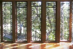 glass art, rightwright glass, houses, trees, frank lloyd wright, windows, hollyhock house