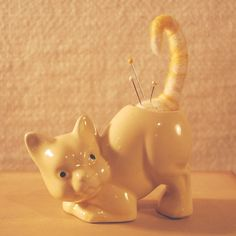 Needle Felted pin cushion in a vintage ceramic cat planter CUTE IDEA
