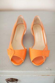 Orange open-toed flats