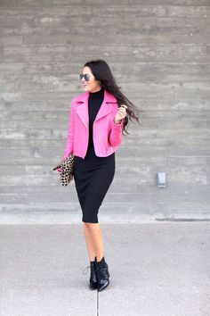 In The Pink: Rachel of Pink Peonies with her J BRAND Aiah Leather Jacket in Hibiscus.