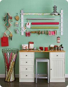 ribbon storage, peg board, wrapping paper storage, gift wrapping station, gift wrap station