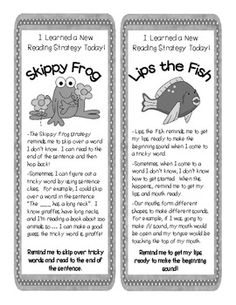 Beanie Baby Reading Strategies Parent Bookmarks