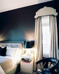 Dark bedroom walls, valance detail | Lonny.com