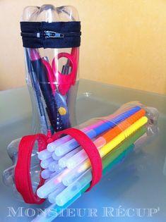 Sr. Recuperar ': kits escolares em garrafas de plástico