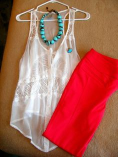 color combos, blue necklace outfit, red summer, red necklace outfit, blue and red outfit, red white and blue clothes, turquoise top outfit, red and turquoise outfits, colored jeans