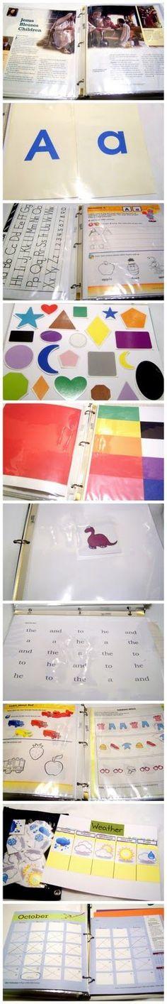Great ideas for a Preschool learning binder!