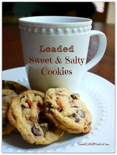 Loaded Sweet & Salty Cookies - Semi-sweet chocolate chips, Reese's peanut butter chips, pieces of pretzels and caramel bits...a sweet & salty winner! | SweetLittleBluebird.com
