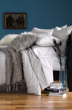 There's something I love about white and grey ~ Nordstrom Duvet Bedding. Grey and white.