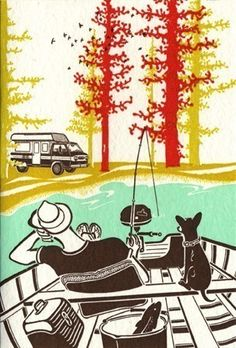 Fishing with Dog Letterpress Print by OldSchoolStationers on Etsy, $42.00
