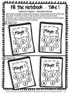 Back to School Math Games First Grade by Games 4 Learning! This collection of back to school math games contains 14 printable games. $