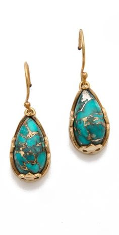 gold/blue copper turquoise earrings