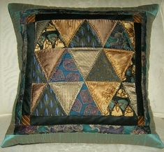 Silk tie pillow on esty  Delectable Mountains