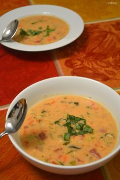 Easy Tomato Basil Parmesan Soup in the crockpot and it's gluten-free