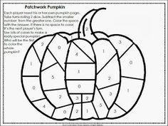 Primary Inspiration: Patchwork Pumpkin Math Freebie ... Subtraction