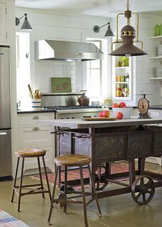 White cabinets, mixed metals, new and old