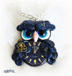 Steampunk owl. Black owl pendant. Clay bird. Clay owl.  Polymer clay. Steampunk necklace by Sysimust