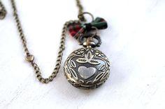 Outlander  locket watch necklace tartan plaid bow by DinaFragola