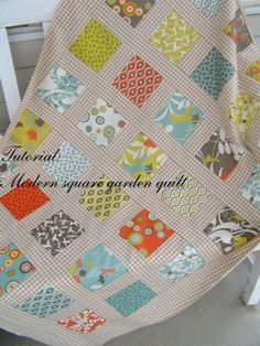 Tutorial  --  Modern square garden quilt [love the check]