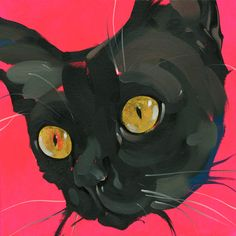 """Black Pussy"" Jonny Ruzzo New York, NY  #cat #cats #catart #kitten #kitty #kitties #art #illustration #drawing #pussycat"