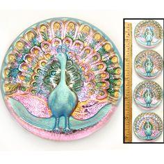 Vintage Czech Glass Peacock Buttons