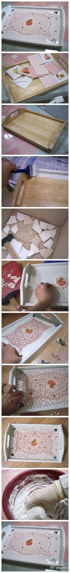 diy ideas, diy crafts, diy tutorial, serving trays, mosaic tables, broken china, mosaic tiles, craft ideas, christmas gifts