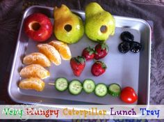 (6) ACTIVITY take a Very Hungry Caterpillar shopping trip and create a lunch tray inspired by his food!   #WorldEricCarle #hungryCaterpillar