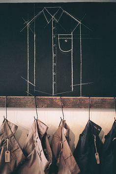 Retail Design | Store Interiors | Shop Design | Visual Merchandising | Retail Store Interior Design | Chalkboard Shirt Construction Detail // Retail Display