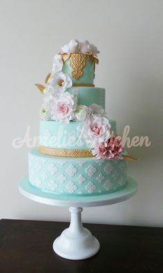 pink roses, gold trim, tiered cakes, weddings, color rose, wedding cakes, aqua gold pink wedding, amaz cake, lace patterns