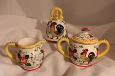Roosters and Roses Sugar Bowl an Creamer and by VintagebyViola, $70.00