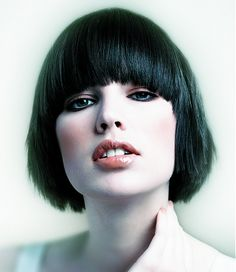 A medium black straight bob feathered Womens haircut hairstyle by The Hair Studio