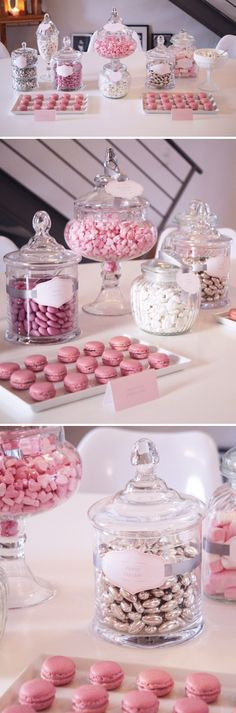 Pretty pink and silver sweet buffet. pink and silver candy buffet, pink candi, dessert buffet, candy jars candy buffet, candies, candy buffet pink, candi buffet, parti idea, candi bar