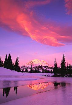 Mt. Rainier Covered in Snow at Sunrise